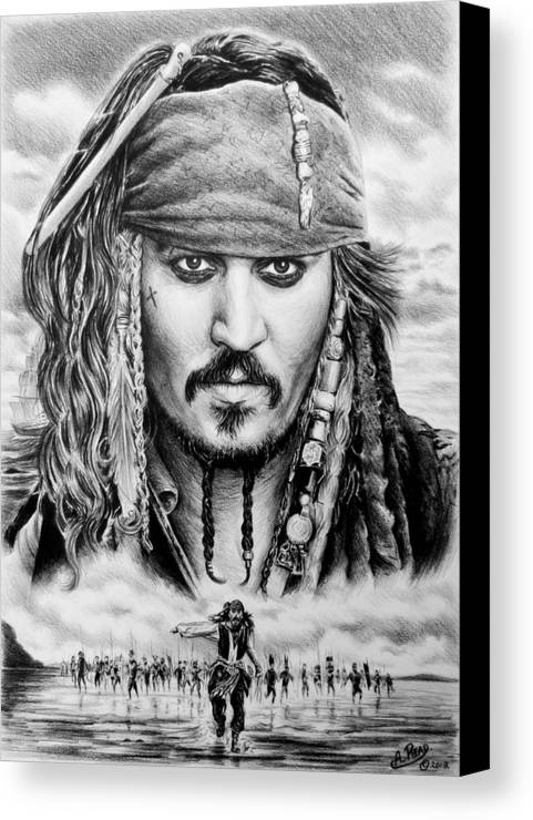 Andrew Read Canvas Print featuring the drawing Captain Jack Sparrow 2 by Andrew Read
