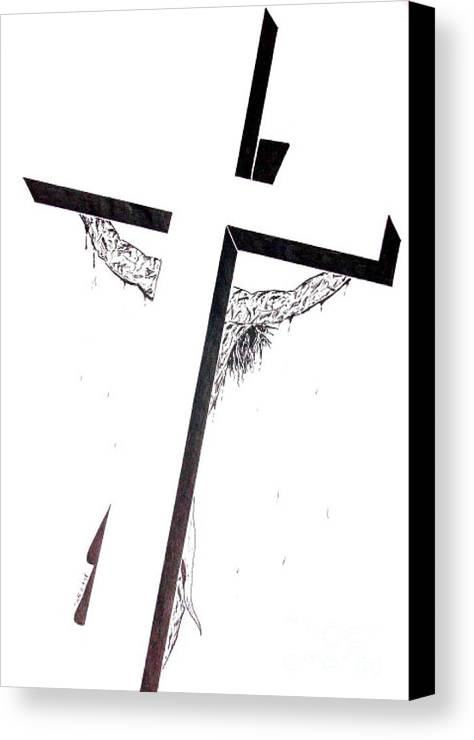 Christ Canvas Print featuring the drawing Christ On Cross by Justin Moore
