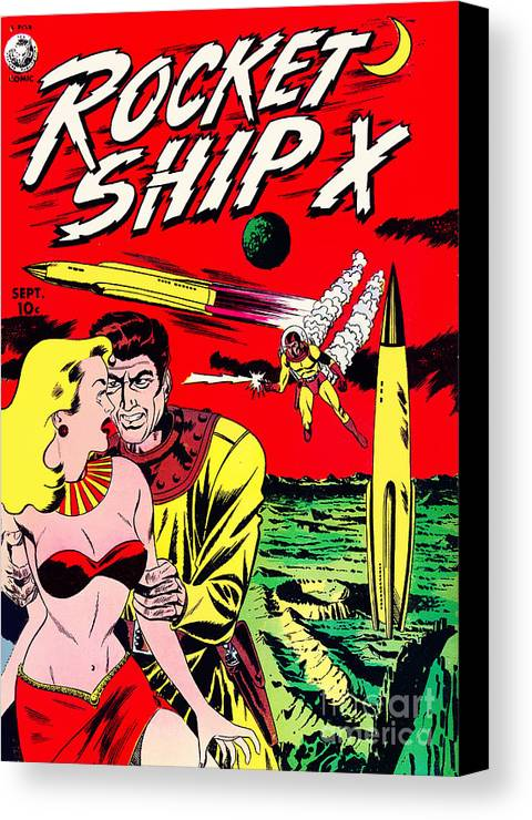 Classic Comic Book Cover Prints : Classic comic book cover rocket ship canvas