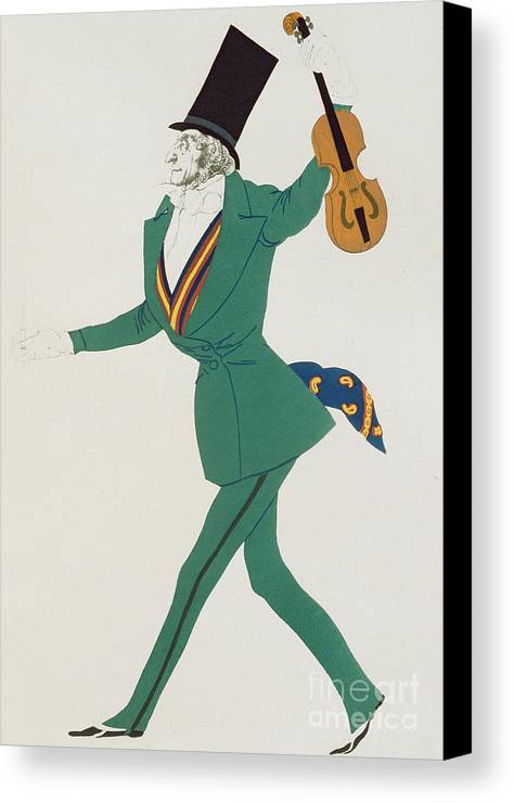 Leon Bakst Canvas Print featuring the painting Costume Design For Paganini In The Enchanted Night by Leon Bakst