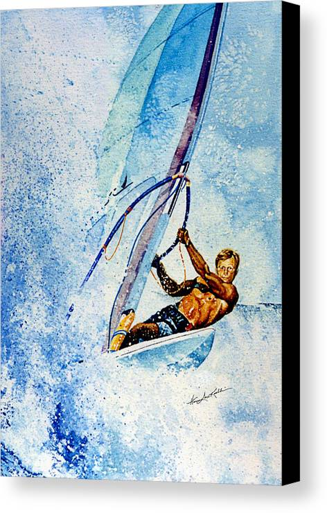 Surfing Canvas Print featuring the painting Cutting The Surf by Hanne Lore Koehler