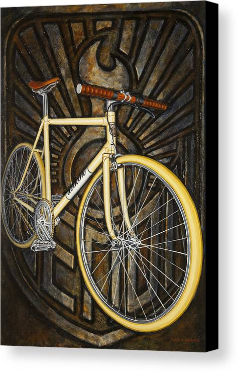 Bicycle Canvas Print featuring the painting Demon Path Racer Bicycle by Mark Jones