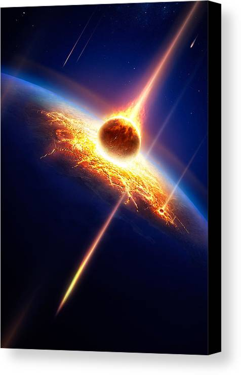 Earth Canvas Print featuring the photograph Earth In A Meteor Shower by Johan Swanepoel