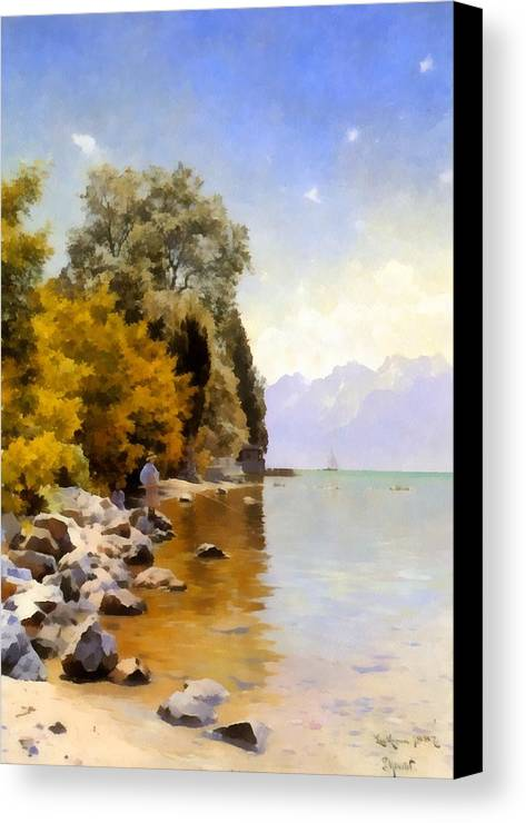 Peder Mork Monsted Canvas Print featuring the digital art Fishing On Lac Leman by Peder Mork Monsted