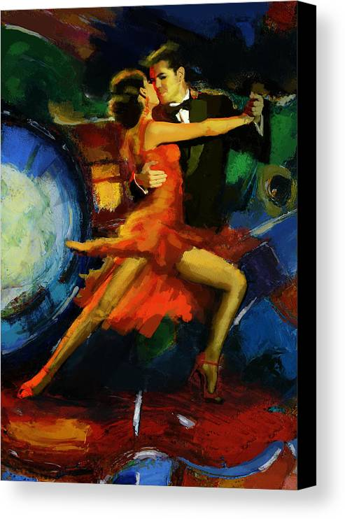 Jazz Canvas Print featuring the painting Flamenco Dancer 029 by Catf