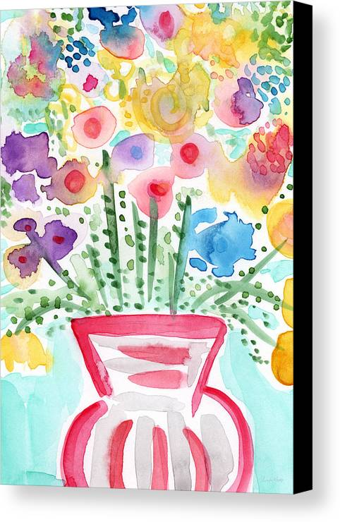 Flowers Canvas Print featuring the painting Fresh Picked Flowers- Contemporary Watercolor Painting by Linda Woods