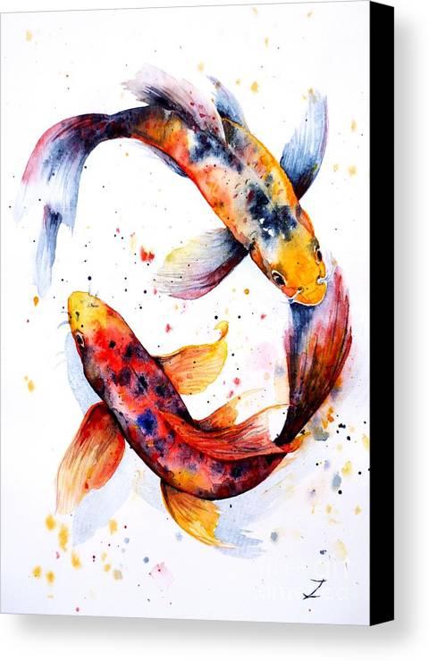 Koi Canvas Print featuring the painting Harmony by Zaira Dzhaubaeva