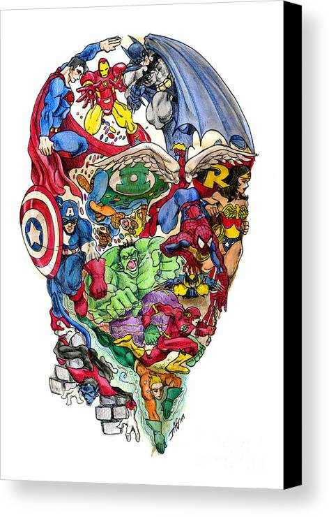 Surreal Canvas Print featuring the drawing Heroic Mind by John Ashton Golden