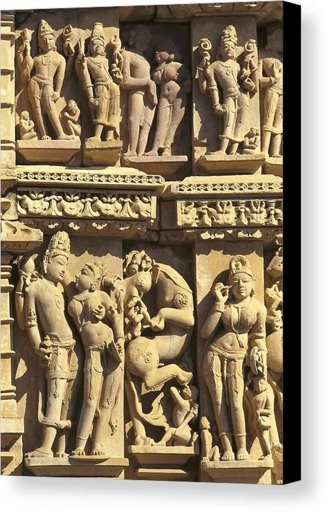 Asia Canvas Print featuring the photograph India. Khajraho. Jain Temple by Everett