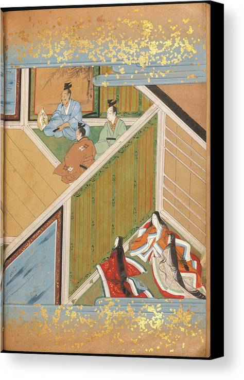 Japan Canvas Print featuring the photograph Japanese Ladies Behind Screen by British Library