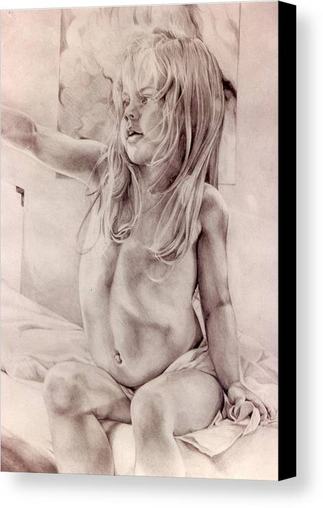 Portrait Canvas Print featuring the drawing Joey by Julie Orsini Shakher