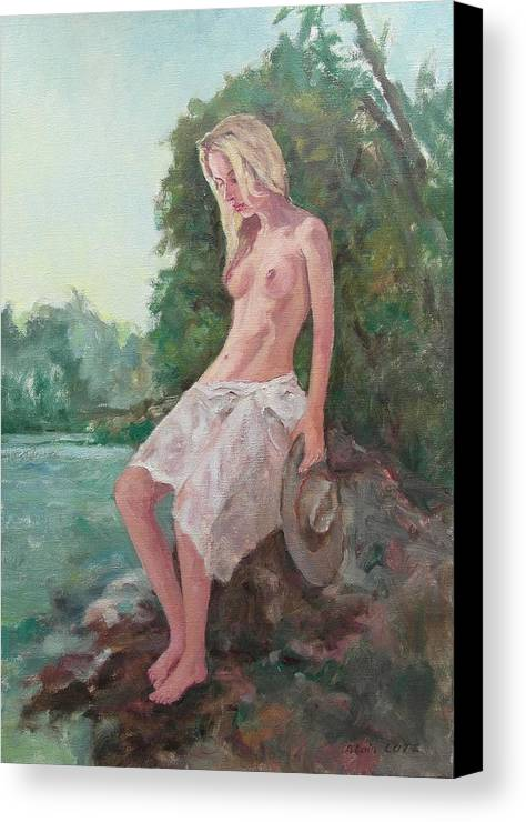Figure Canvas Print featuring the painting La Fille To The Pond by Alain Lutz
