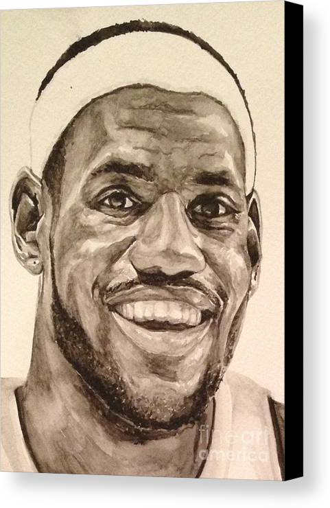 Lebron James Canvas Print featuring the painting Lebron James by Tamir Barkan