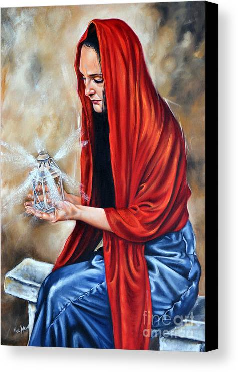 Woman Canvas Print featuring the painting Light My Candle by Ilse Kleyn