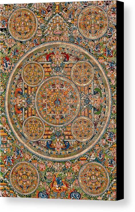 Mandala Of Heruka In Yab Yum And Buddhas Canvas Print featuring the photograph Mandala Of Heruka In Yab Yum And Buddhas by Lanjee Chee