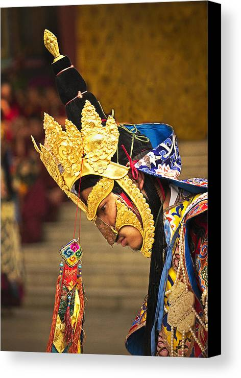 Masked Canvas Print featuring the photograph Masked Lama Performing Ritual Dance by Karma Ganzler