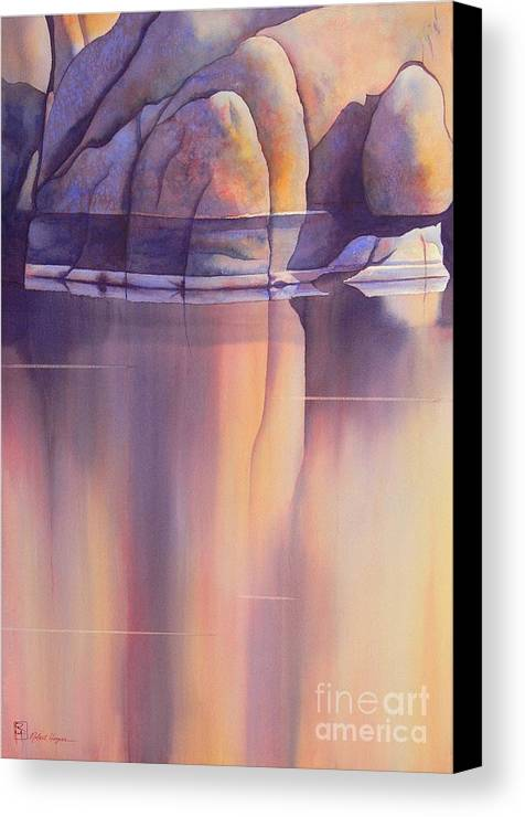 Watercolor Canvas Print featuring the painting Morning Reflection by Robert Hooper