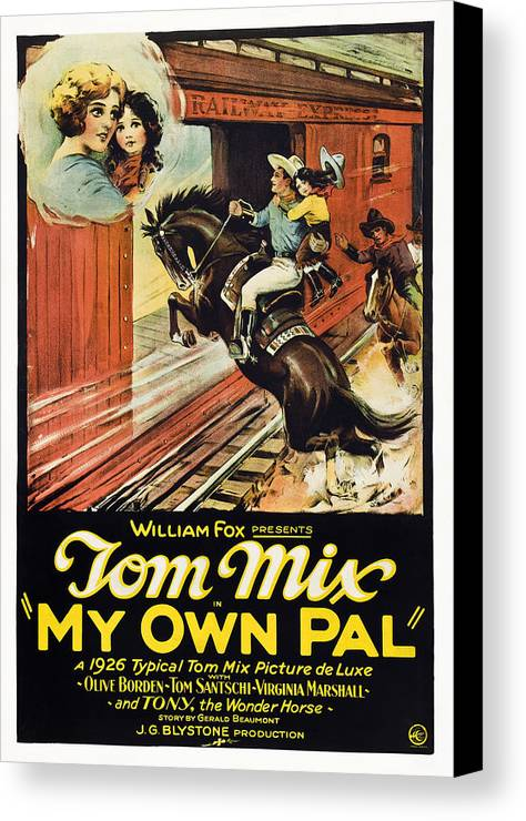 1920s Movies Canvas Print featuring the photograph My Own Pal, Center Tom Mix, 1926, Tm by Everett