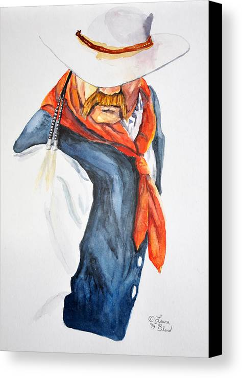 Cowboy Canvas Print featuring the painting Mysterious Cowboy by Laura Blond