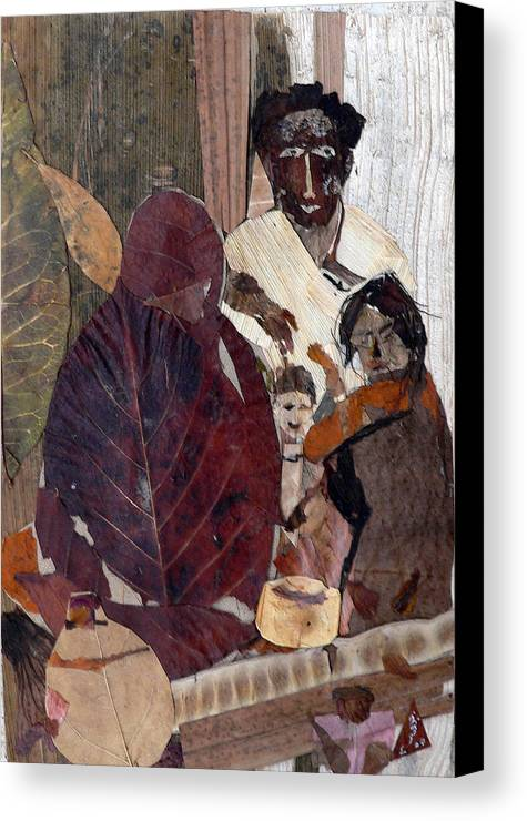 Group Portrait Canvas Print featuring the mixed media Needy Family by Basant Soni