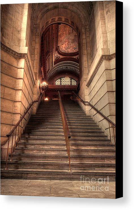 Hdr Canvas Print featuring the photograph New York City Public Library by David Bearden