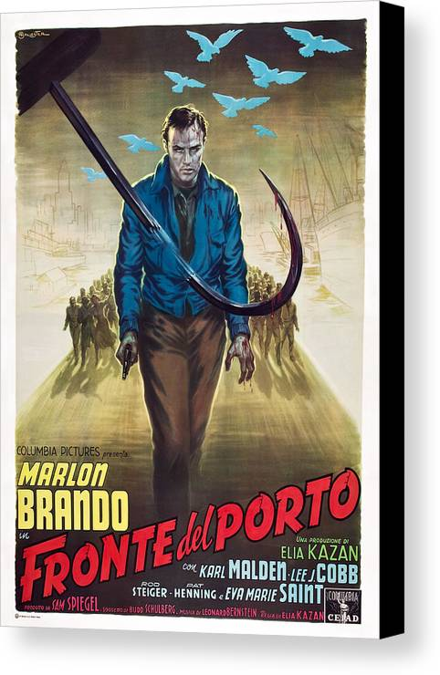 1950s Poster Art Canvas Print featuring the photograph On The Waterfront, Aka Fronte Del by Everett