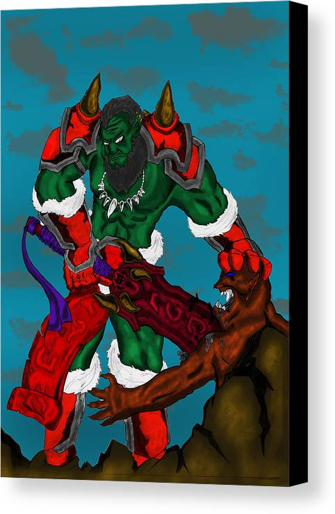 Canvas Print featuring the digital art Orc by Marcelo Peruca