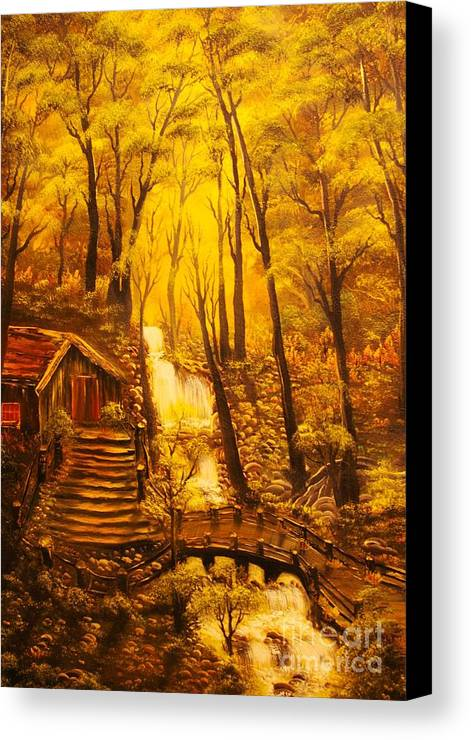 Tranquil Canvas Print featuring the painting Tranquil Cottage Stream- Original Sold -buy Giclee Print Nr 38 Of Limited Edition Of 40 Prints by Eddie Michael Beck