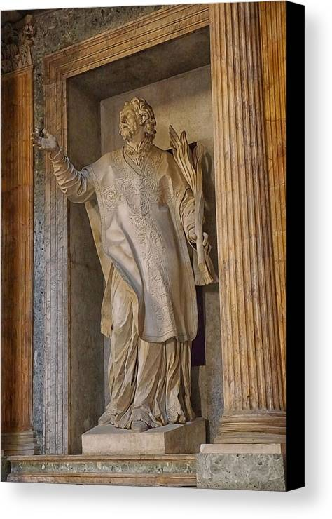 Canvas Print featuring the photograph Pantheon Statue 2 by Herb Paynter