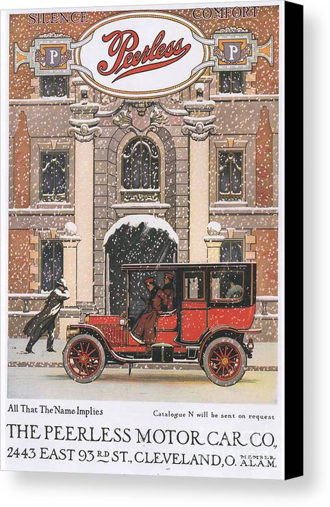 1910�s Canvas Print featuring the drawing Peerless 1910s Usa Cars Winter Snow by The Advertising Archives