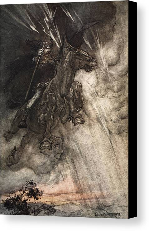 Der Ring Des Nibelungen Canvas Print featuring the drawing Raging, Wotan Rides To The Rock! Like by Arthur Rackham
