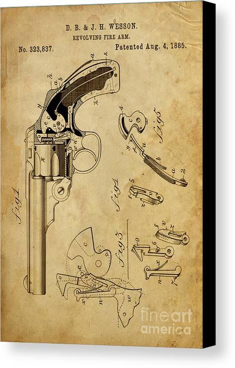 Revolving Gun Canvas Print featuring the digital art Revolving Fire Arm - Patented On 1885 by Drawspots Illustrations