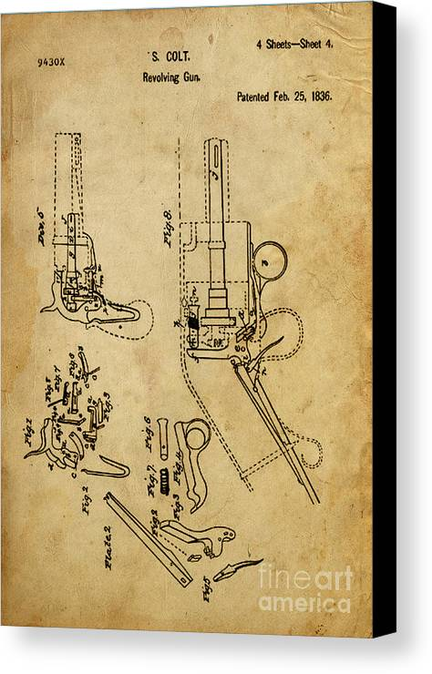 Revolving Gun Canvas Print featuring the mixed media Revolving Gun Colt - Patented On 1836 by Drawspots Illustrations