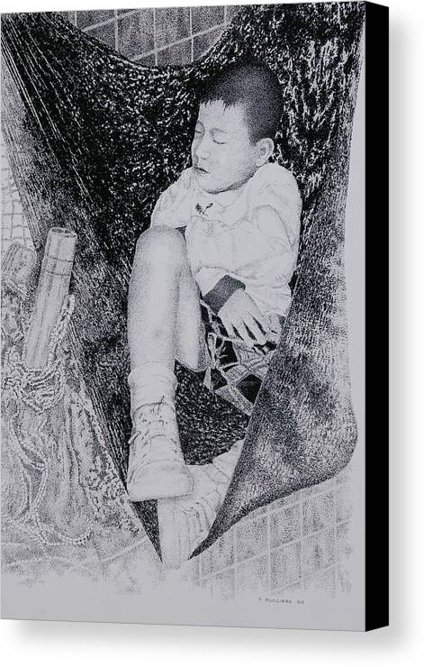 Tot Child Sleeping Boy Canvas Print featuring the painting Safety Net by Tony Ruggiero