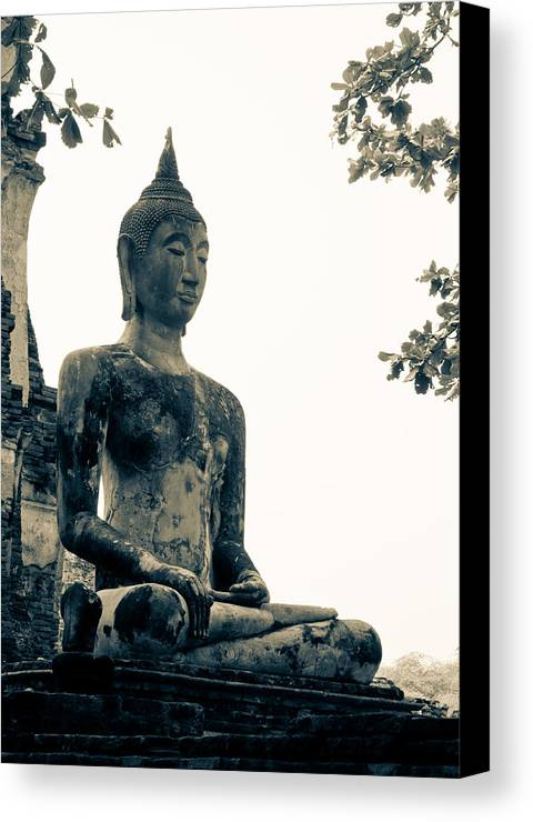 Buddha Statue Canvas Print featuring the sculpture The Ancient City Of Ayutthaya by Thosaporn Wintachai