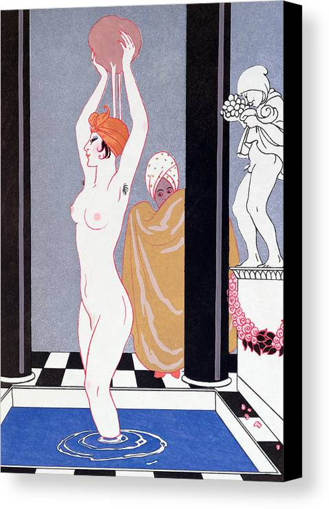 Female Canvas Print featuring the painting The Basin by Georges Barbier
