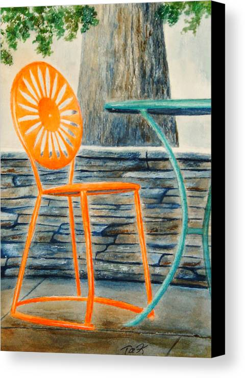 University Of Wisconsin Canvas Print featuring the painting The Terrace Chair by Thomas Kuchenbecker