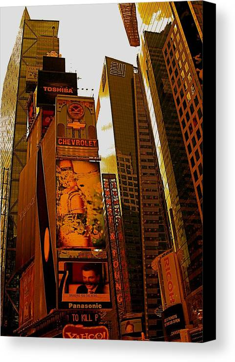 Manhattan Posters And Prints Canvas Print featuring the photograph Times Square In Manhattan by Monique's Fine Art