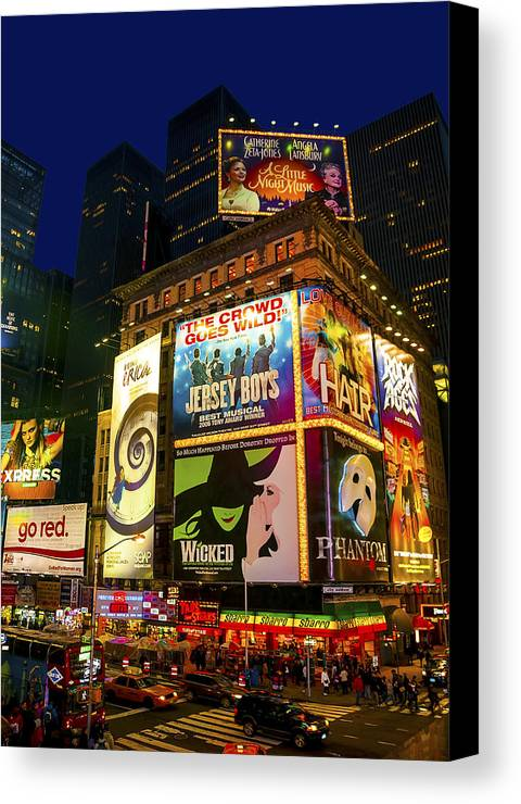 America Canvas Print featuring the photograph Times Square by Svetlana Sewell