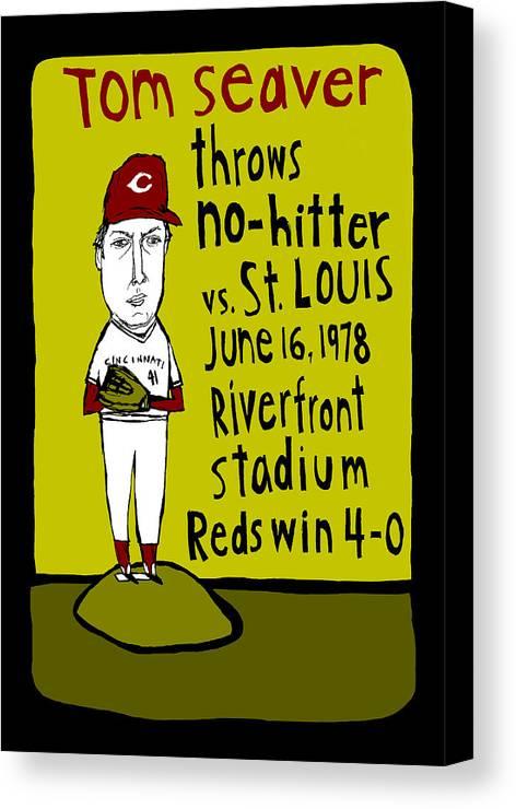 Tom Seaver Canvas Print featuring the painting Tom Seaver Cincinnati Reds by Jay Perkins