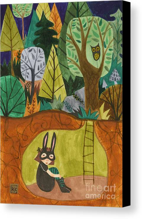 Bunny Mask Canvas Print featuring the painting Underground by Kate Cosgrove