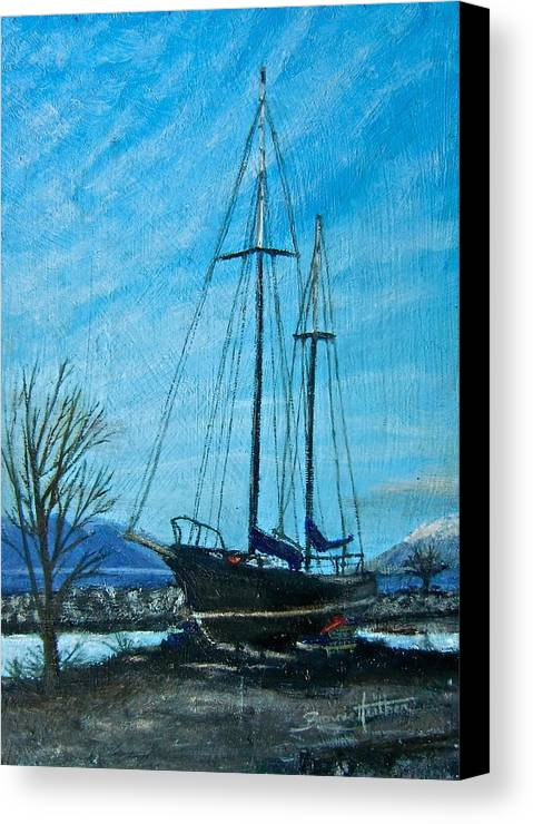 Boat Canvas Print featuring the painting Waiting For Springtime. by Bonnie Heather