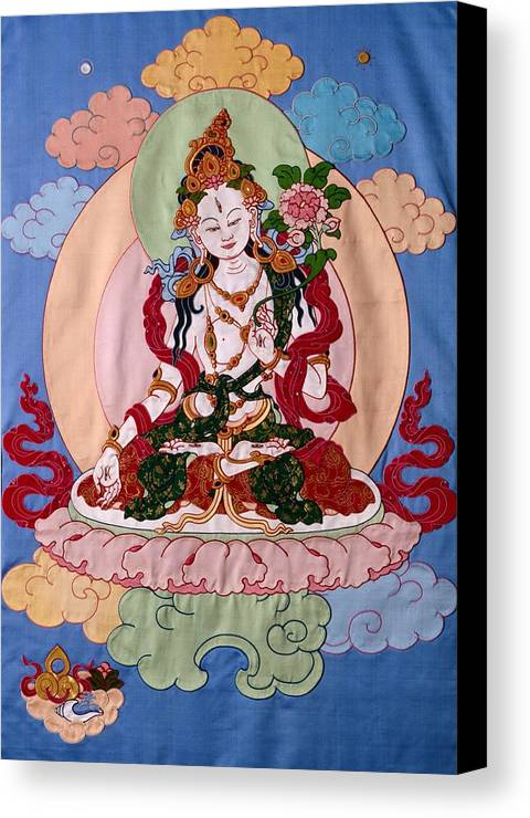 Longevity Canvas Print featuring the tapestry - textile White Tara by Leslie Rinchen-Wongmo