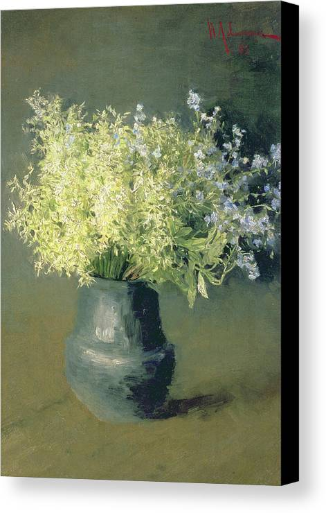 Still-life Canvas Print featuring the painting Wild Lilacs And Forget Me Nots by Isaak Ilyich Levitan