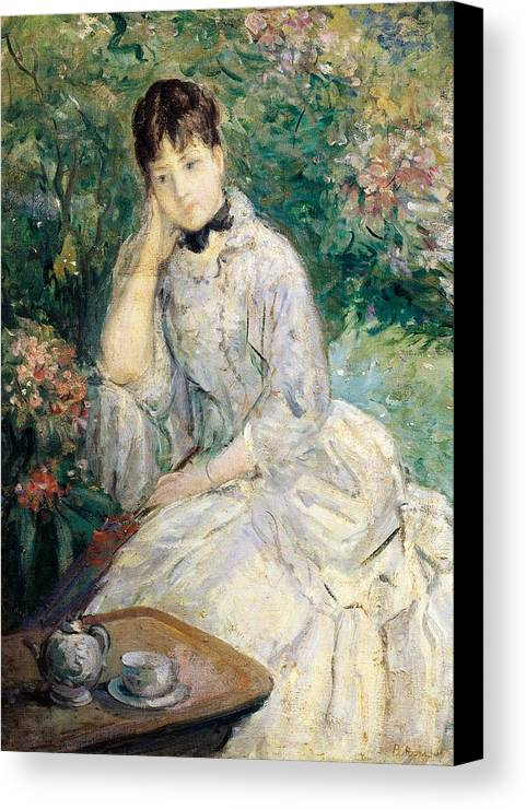 Art Canvas Print featuring the painting Young Woman Seated On A Sofa by Berthe Morisot