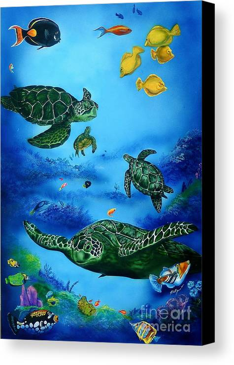Turtles Canvas Print featuring the painting The Beauty Below by Kathleen Kelly Thompson