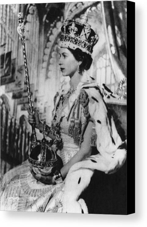 1950s Canvas Print featuring the photograph British Royalty. Queen Elizabeth II by Everett