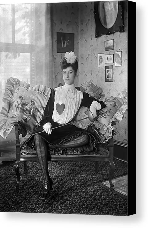 Woman Girl Female Heart Vintage Lady Fencer Salon Sofa Couch Sitting Black White Bw Canvas Print featuring the photograph A Heart For Love by Steve K