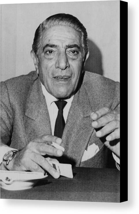 1970s Canvas Print featuring the photograph Aristotle Onassis, Circa Early 1970s by Everett