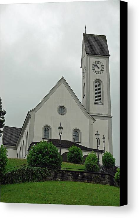 Church Canvas Print featuring the photograph Beautiful Church In The Swiss City Of Lucerne by Ashish Agarwal